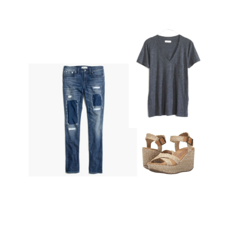 BOYFRIEND JEANS + GREY TEE + WEDGE SANDALSB