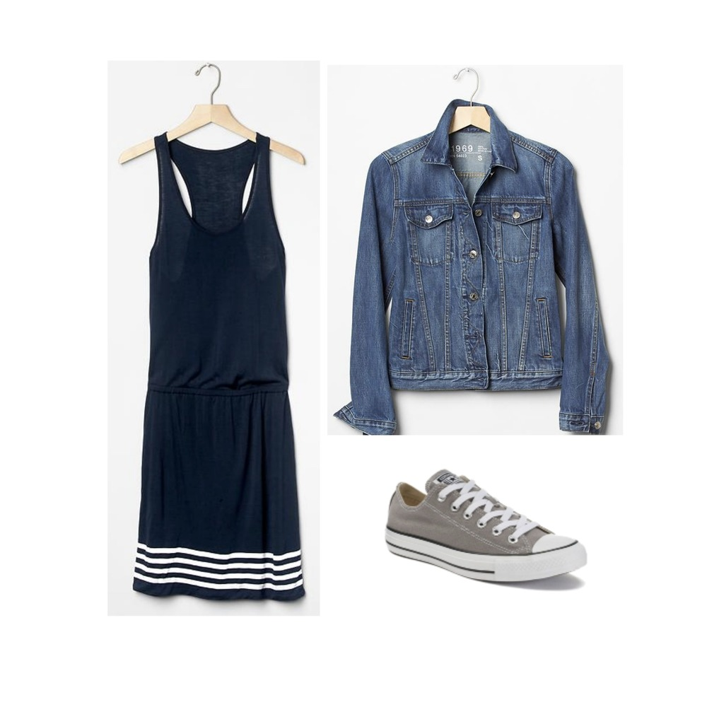 TANK DRESS + DENIM JACKET + CONVERSE