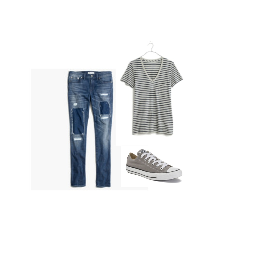BOYFRIEND JEANS + STRIPE TEE + CONVERSE SHOES
