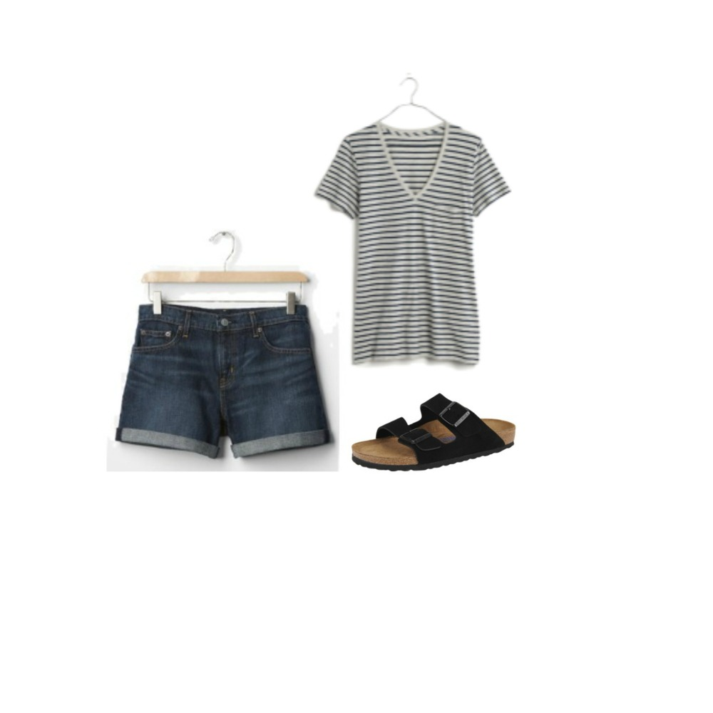 JEAN SHORTS + STRIPE TEE + SANDALS