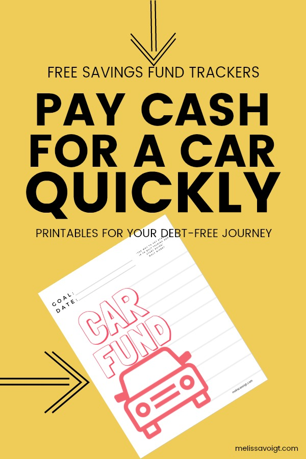 Saving For A Car Sinking Fund Printable Melissa Voigt