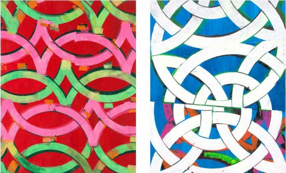 Left: Sleaze Fame, oil and acrylic on panel, 20 x 16″ 2014; Right: Chance Directed, oil and acrylic on panel, 23 x 18″ 2014, Collection of Michel Beihn, Fes
