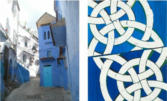 Left: Photo of Chefchaouen, Morocco; Right: Blue Cheer (Augustus Owsley Stanley III), oil and acrylic on panel, 23″ x 18″ 2013