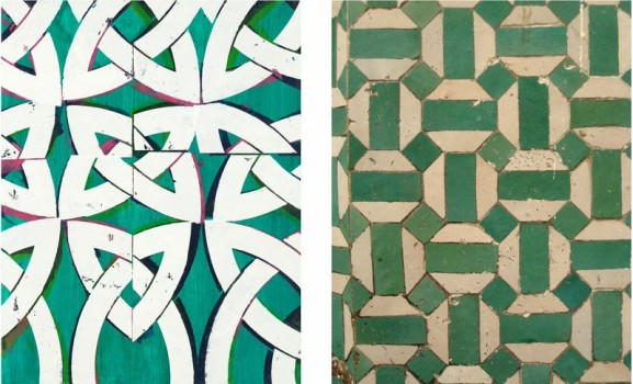 Right: Inherited Capital   oil and acrylic on panel   23 x 18″ 2012; Left: Photo of tiles in Morocco