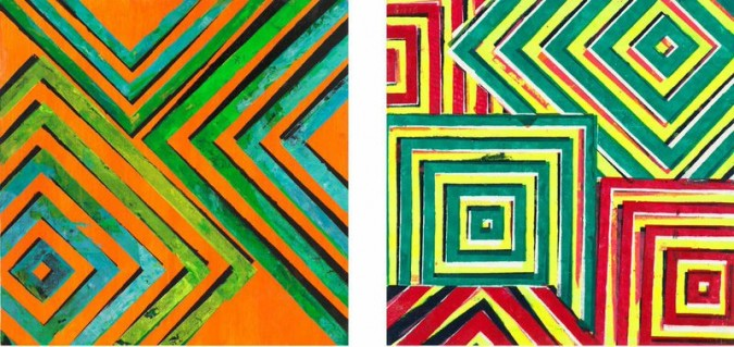 Left: X Class, oil, acrylic on panel, 12″ x 12″ 2012; Right: Wall of Sound, oil, acrylic on panel, 12″ x 12″ 2012