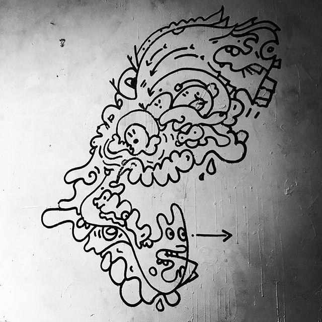 #gonegallery #crg #cathoderaygun #walldoodle #krink #trippy #santabarbra #funkzone #streetart #latergram #art #instaart #wallart