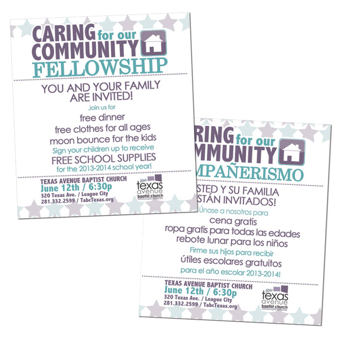 "Bilingual flier to promote Texas Avenue Baptist Church's ""Caring for our Community"" fellowship."