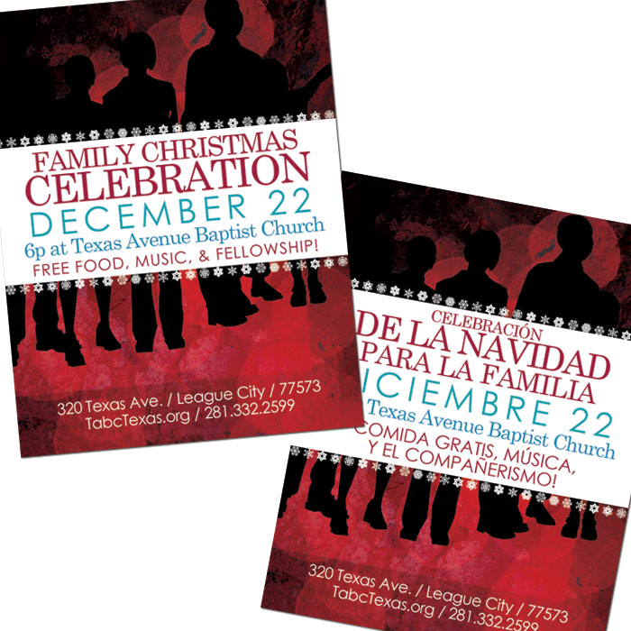 "Bilingual Flier for Texas Avenue Baptist Church's ""Family Christmas Celebration"""