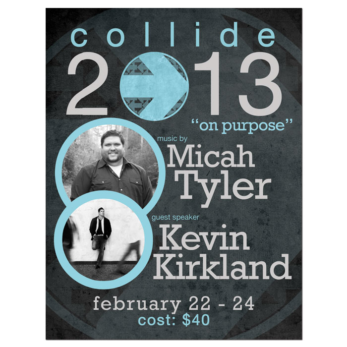 "Promotional poster for Heritage Park Baptist Church's ""Collide 2013"""