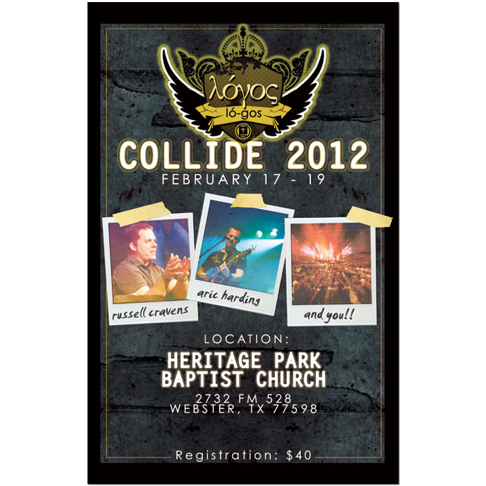 "Promotional poster for Heritage Park Baptist Church's ""Collide 2012"""