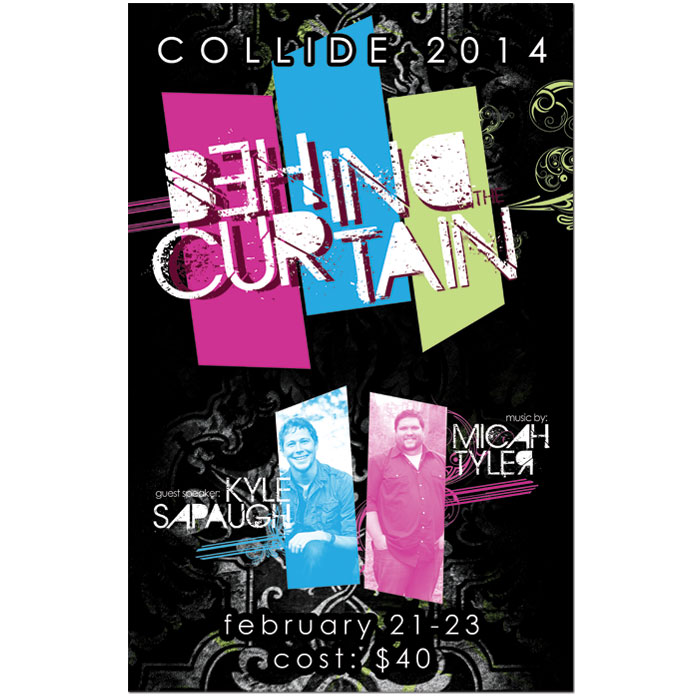 "Promotional poster for Heritage Park Baptist Church's ""Collide 2014"""