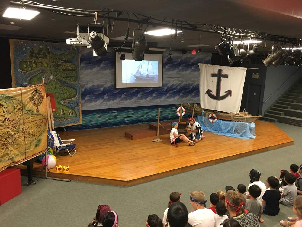 Sailer Sue & Mariner Matt during a Kids' Summer Adventure skit.