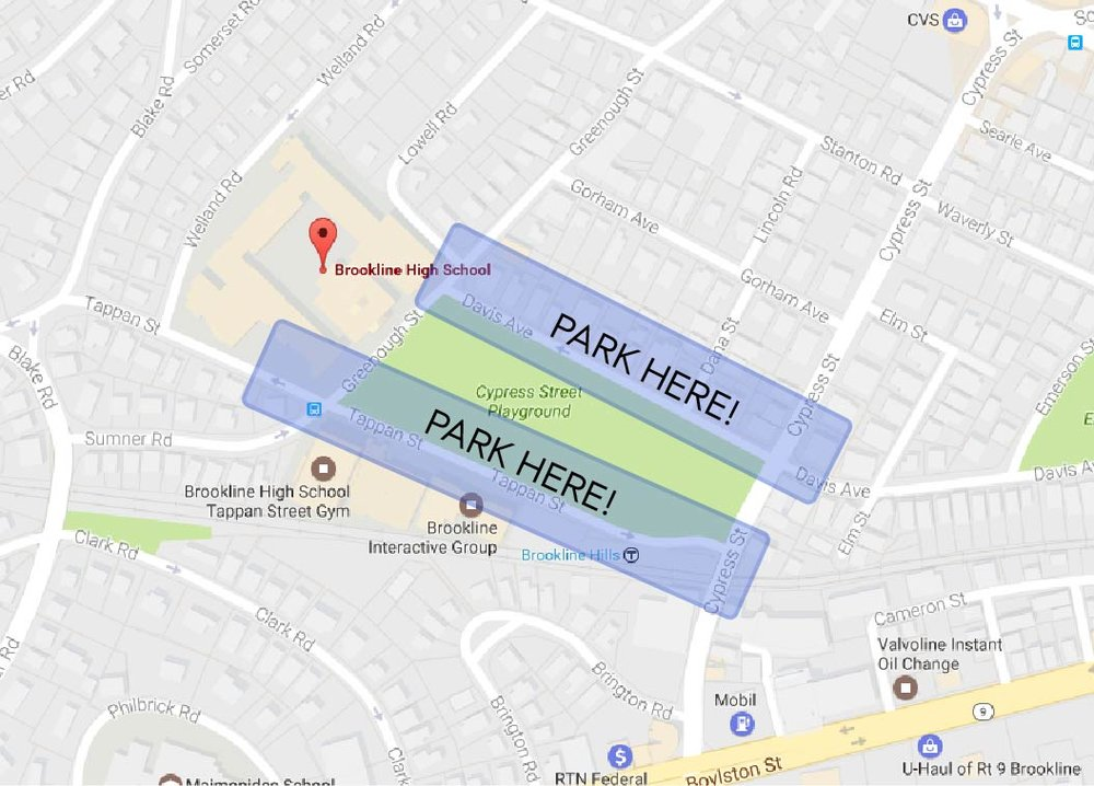 Parking can be found along the streets near Brookline High School. Davis Ave and Tappan St. are suggested parking areas.
