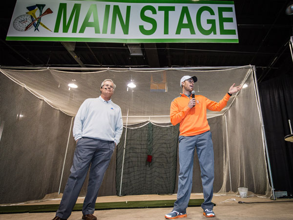 Robbie Gould (right), All Pro Kicker, talks golf on the Main Stage