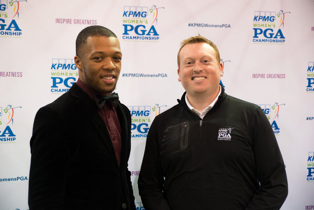 Timothy Mercer (left), winner of the 2017 KPMG Women's PGA Championship Long Drive Contest