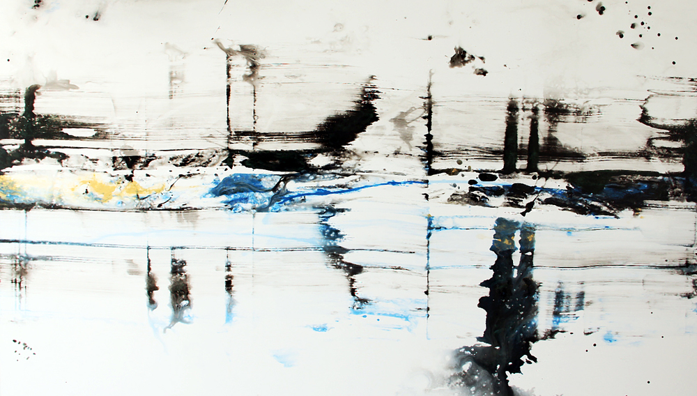 "Waterway      Nicola Parente NP371 Mixed Media on Panel 55"" x 96"""