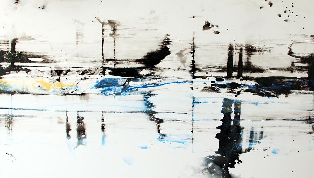 "Waterway   Nicola Parente NP371 Mixed Media on Panel 55"" x 96"""