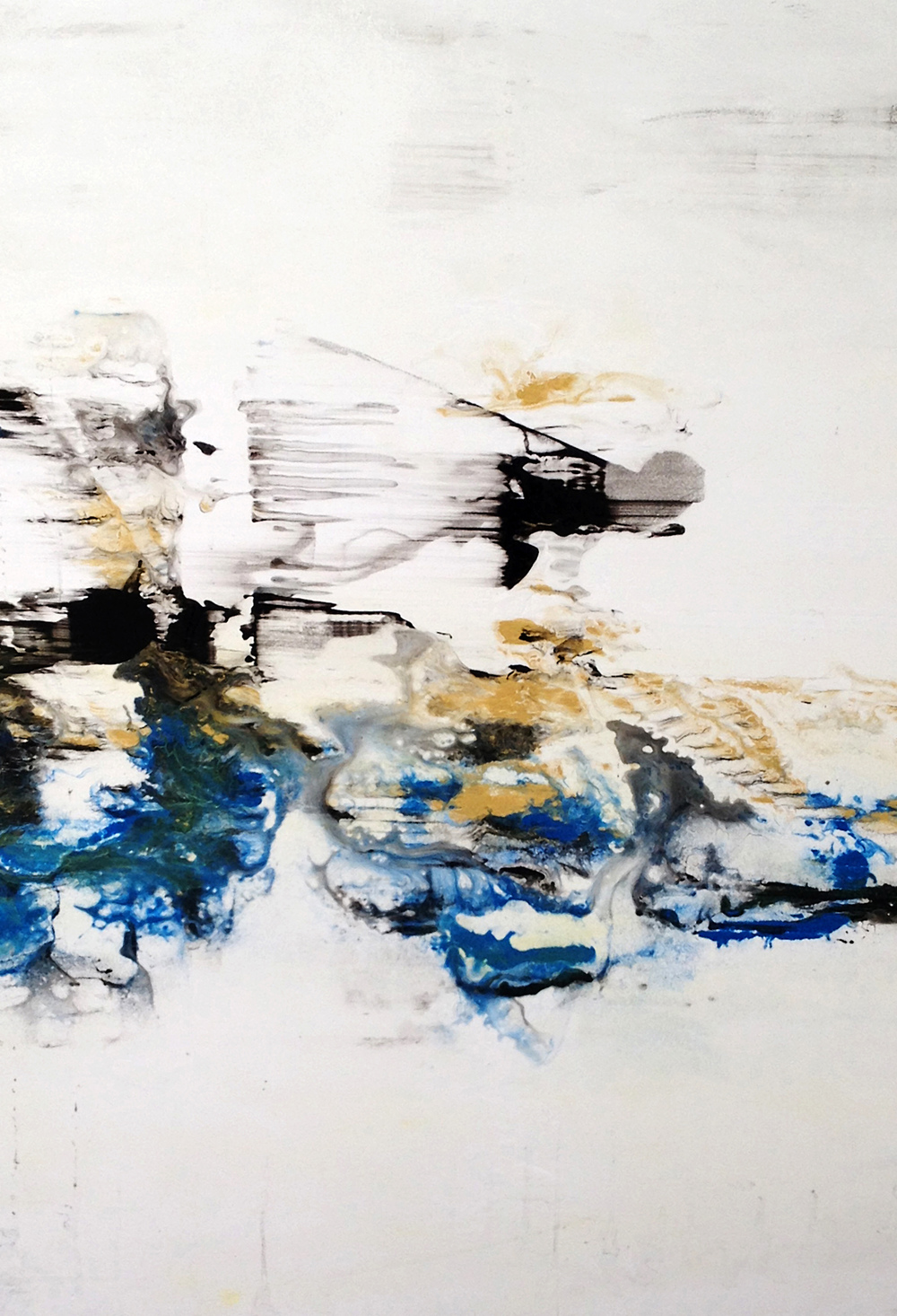 "Atlantis      Nicola Parente NP354 Acrylic, ink, charcoal powder on panel 36"" x 26"""