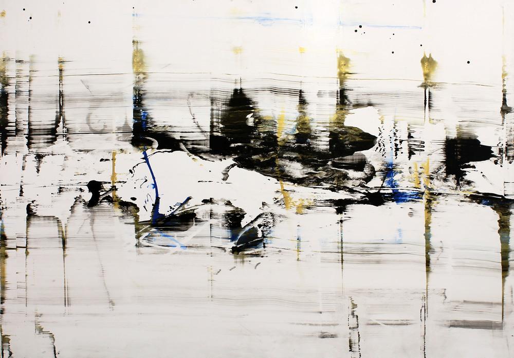 "Oceanico   Nicola Parente NP349 Acrylic, ink, charcoal powder on panel 60"" x 84"""
