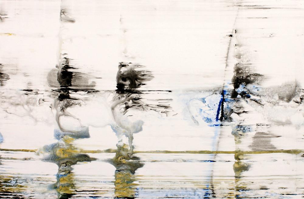 "Whitecaps   Nicola Parente NP353 Acrylic, ink, charcoal powder on panel 21"" x 32"""