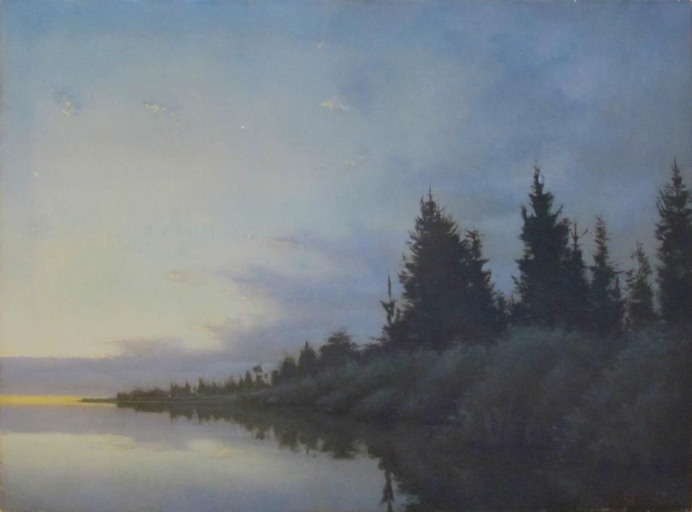 "Reflecting Evergreen II  Bruce Brainard BR712 Oil on Linen 30"" x 40"""
