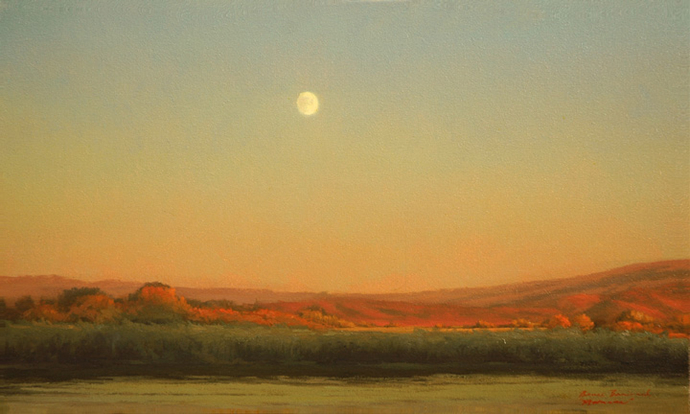 "Moonrise  Bruce Brainard BR821 Oil on Canvas 12"" x 20"""