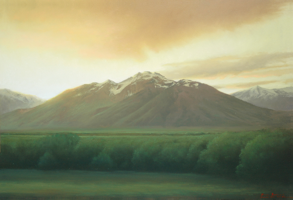 "Sunrise Over Mt. Olympus  Bruce Brainard BR837 Oil on Canvas 30"" x 44"""