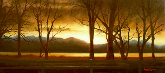 "Day Break  Bruce Brainard BR921 Oil on Canvas 16"" x 36"""