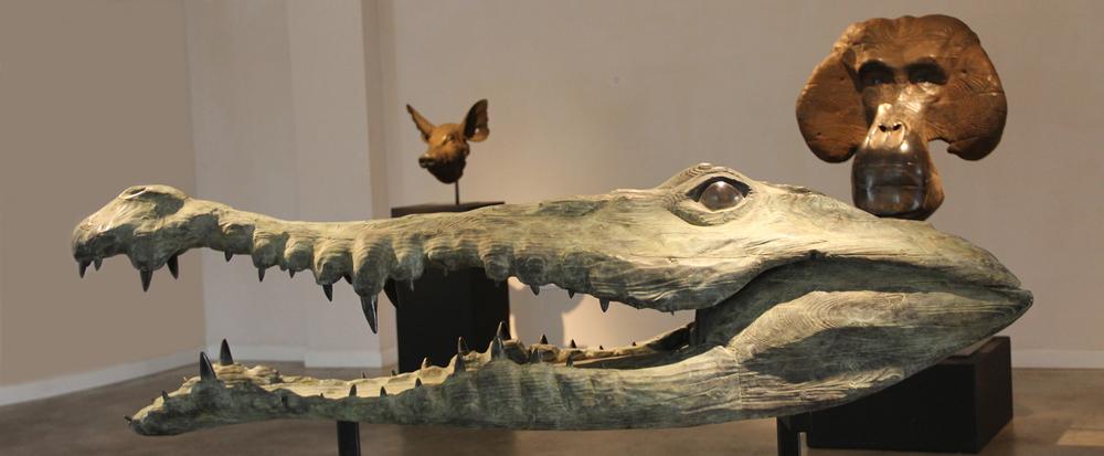 "Crocodile  Quentin Garel QG122 Bronze 19"" x 69"" x 19"""