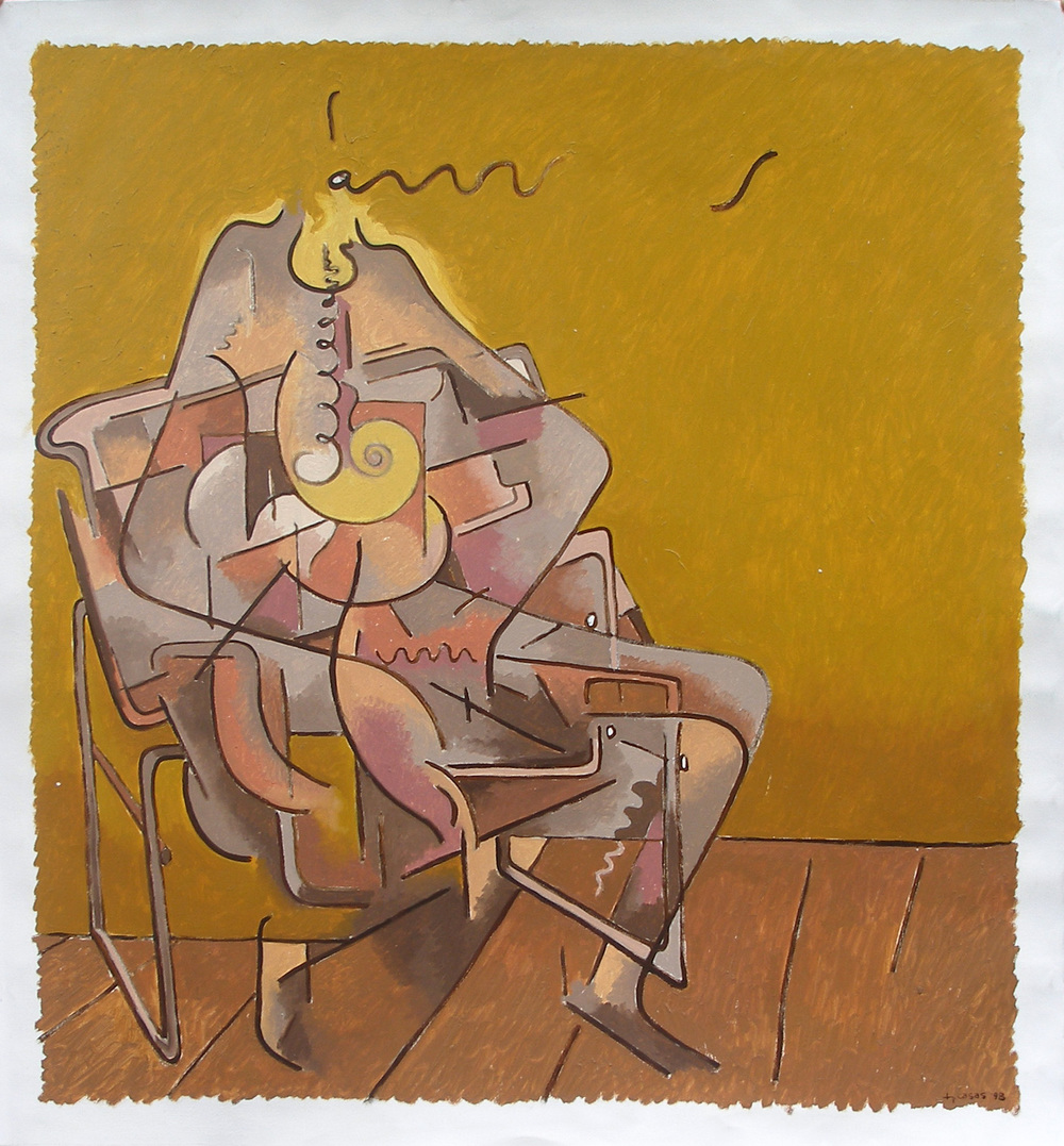 "Seated Figure Speaking  Fernando Casas CA210 Oil on Paper 42"" x 38"""