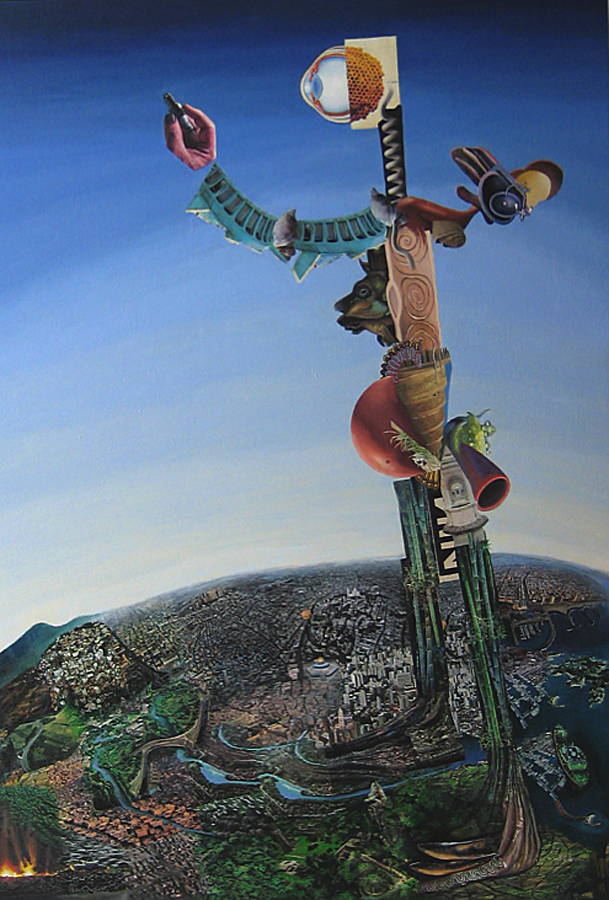 "Creature with Sparkplug  Fernando Casas CA317 Oil on Canvas and Paper 84"" x 58"""