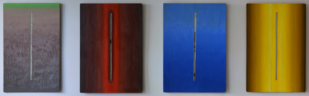 "The Fourfold Study: Mortals, Sky, Earth, Immortals  Fernando Casas CA337- CA340 Oil and Mirror on wood 30"" x 22"" each"