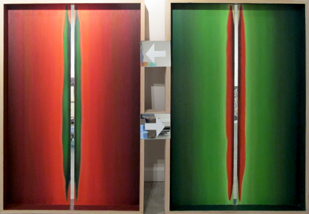 "Color Mirror: Red and Green  Fernando Casas CA349 Oil on wood and mirrors 43"" x 61"""