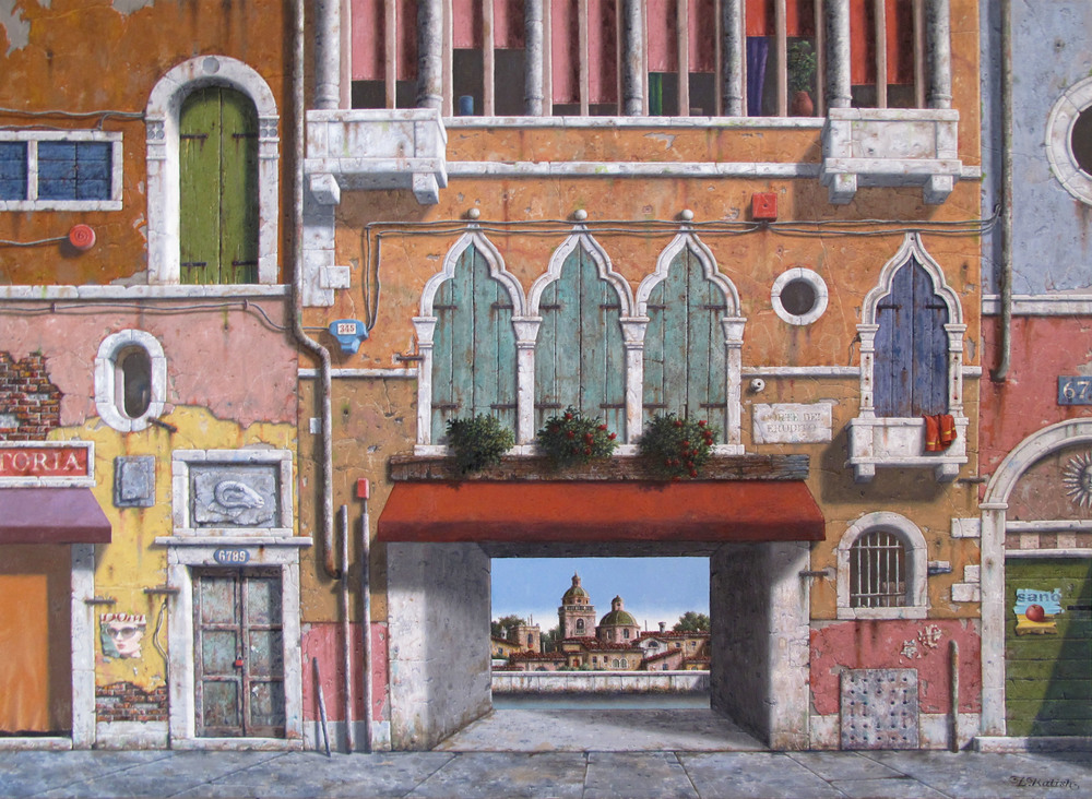 "A Courtyard Wall  Lionel Kalish KA449 Oil on Canvas 30"" x 40"""