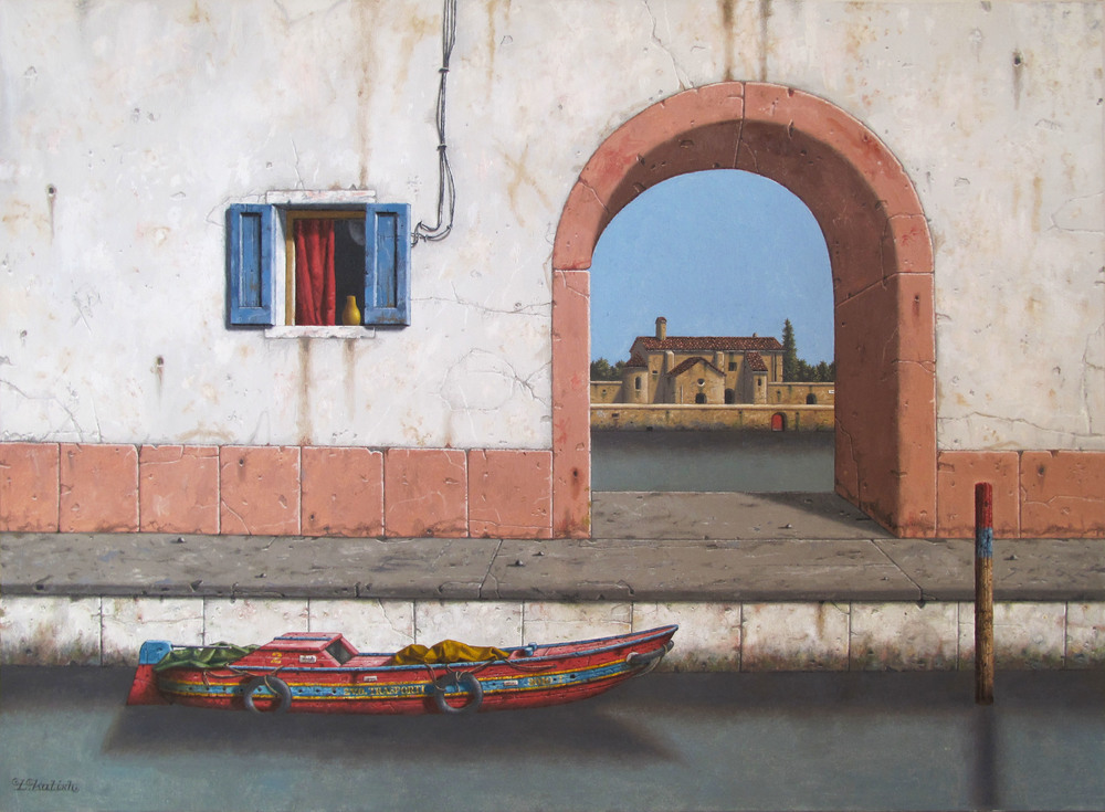 "A Canal View  Lionel Kalish KA453 Oil on Canvas 30"" x 40"""