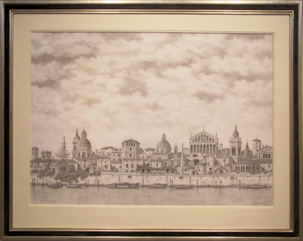 "A View of the River  Lionel Kalish KA455 Pencil on Paper 30"" x 42"""