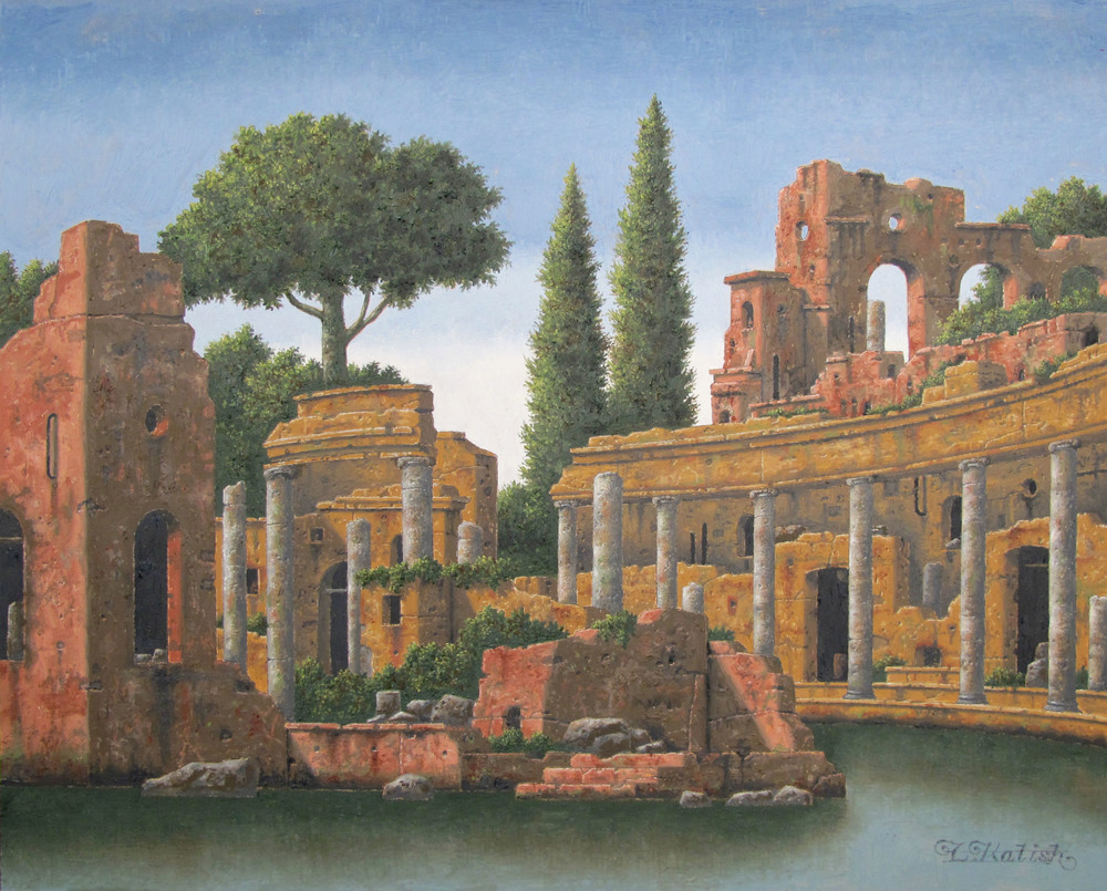 "A Ruin on the Water  Lionel Kalish KA468 Oil on Wood 16"" x 20"""