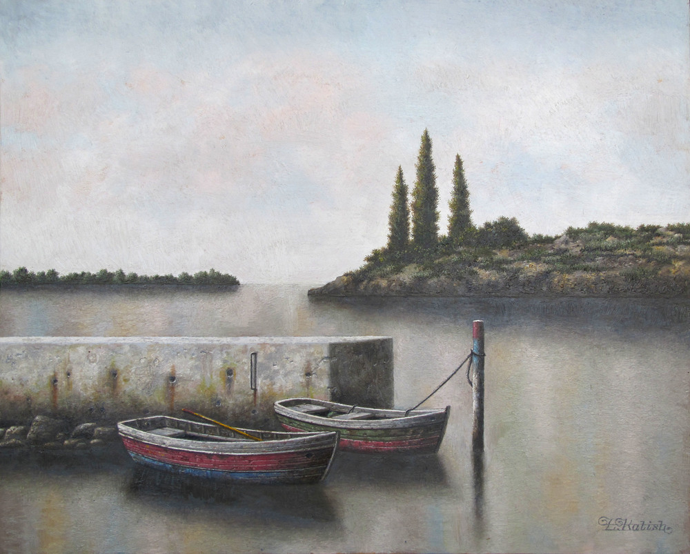 "A Jetty on the Lake  Lionel Kalish KA471 Oil on Wood 16"" x 20"""