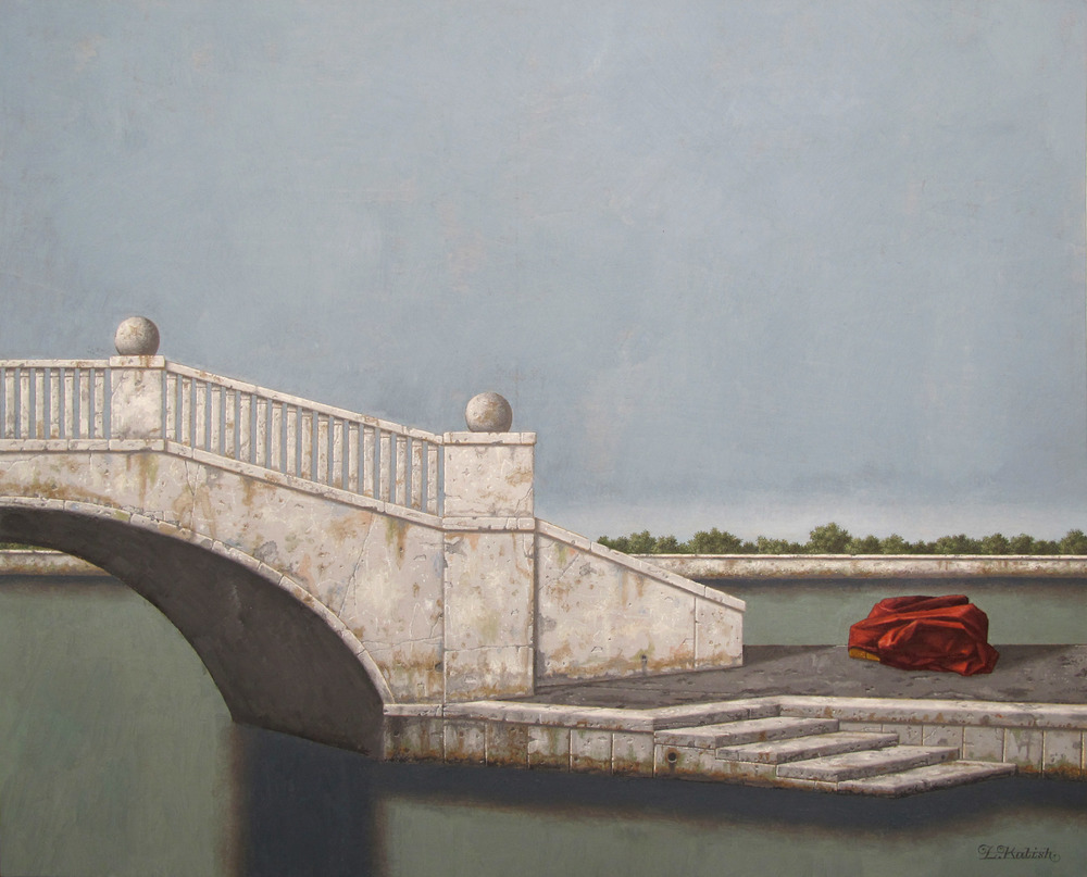 "The White Bridge  Lionel Kalish KA474 Oil on Wood 24"" x 30"""