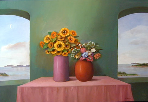 "Still Life in Green Room  Muriel Kalish MK115 Oil on Canvas 36"" x 48"""