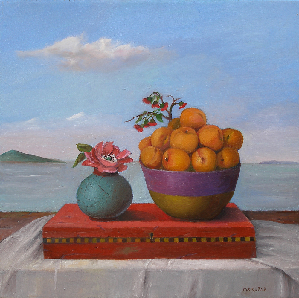 "Apricots  Muriel Kalish MK146 Oil on Canvas 20"" x 20"""