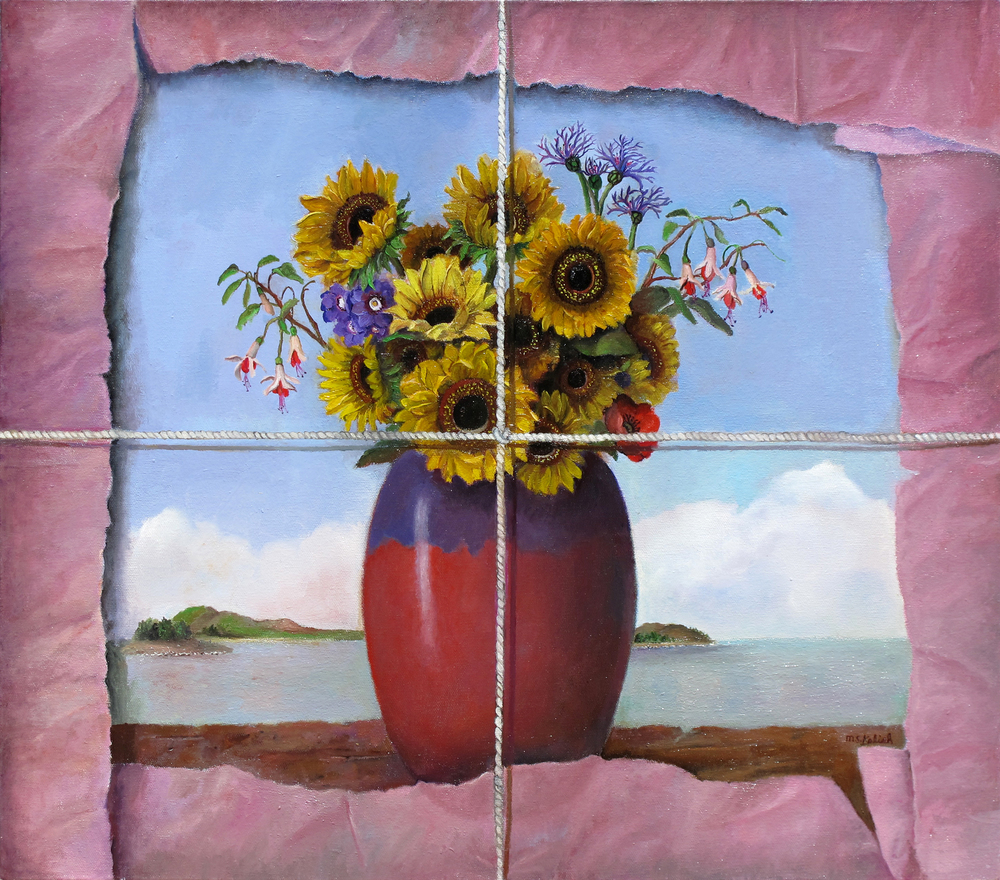 "Sunflowers in Tissue  Muriel Kalish MK147 Oil on Canvas 24"" x 20"""