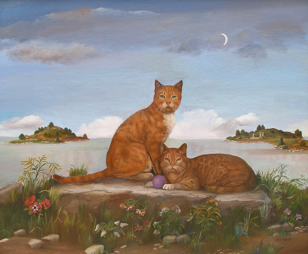 "Cats at Water's Edge  Muriel Kalish MK143 Oil on Canvas 38"" x 46"""