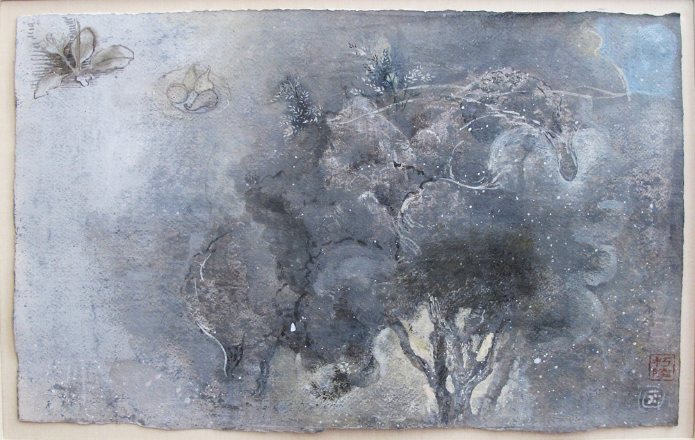 "Olive Trees (Montecastello)  Eric Holzman HZ175 Watercolor, Gauche, Egg Tempera on Paper 14"" x 11"