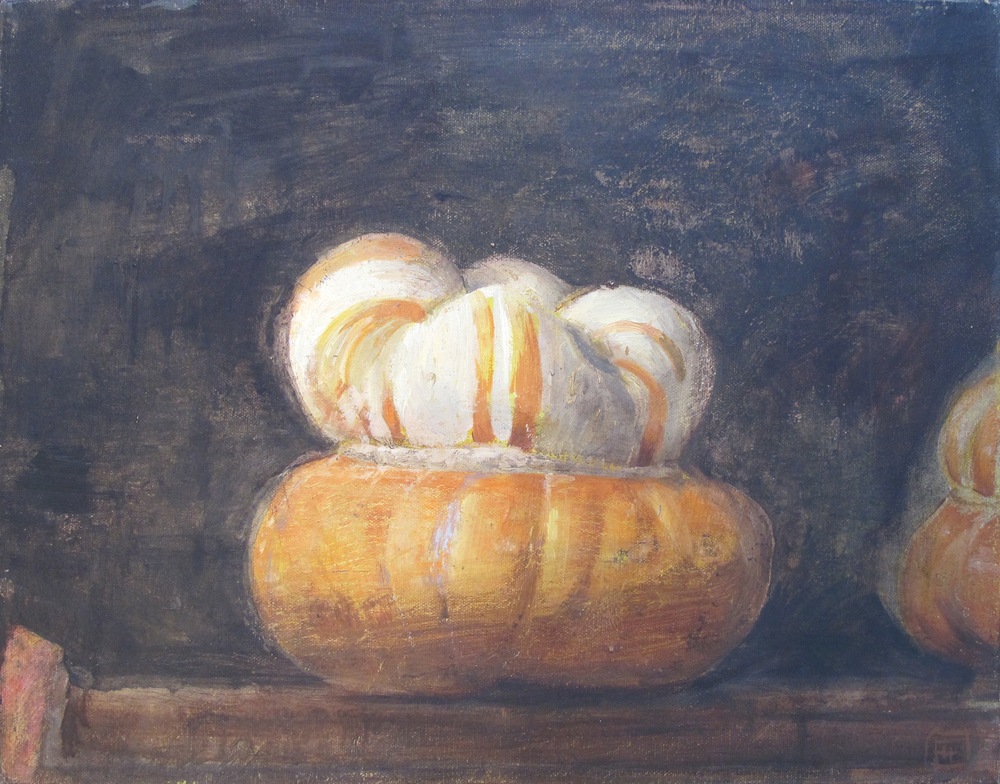 "2 Gourds  Eric Holzman HZ202 Oil on Canvas 14"" x 18"""