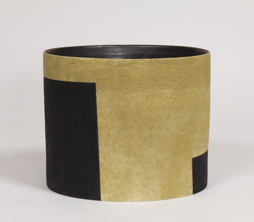 "Ochre Bucket Vessel  Kathy Erteman ET135 Ceramic 10"" x 10"" x 12"""