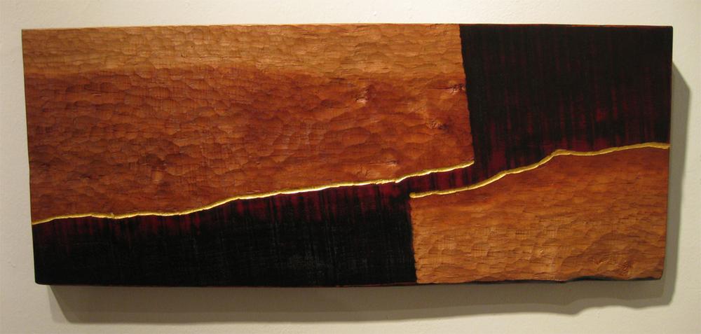 "Rio Grande  Jeffrey Brosk JB114 Cherry Wood, Black Stain, Gold Leaf 13"" x 33"" x 1.5"""