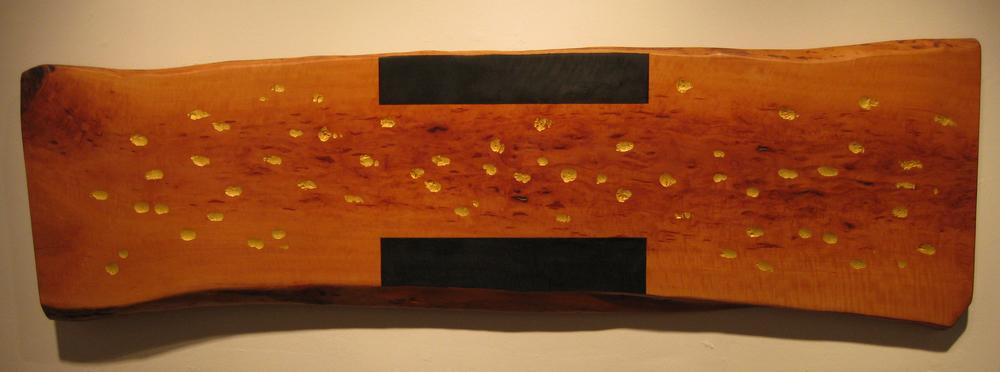 "Reflection  Jeffrey Brosk JB120 Wood, Black Stain, Gold Leaf 20"" x 75"" x 2"""