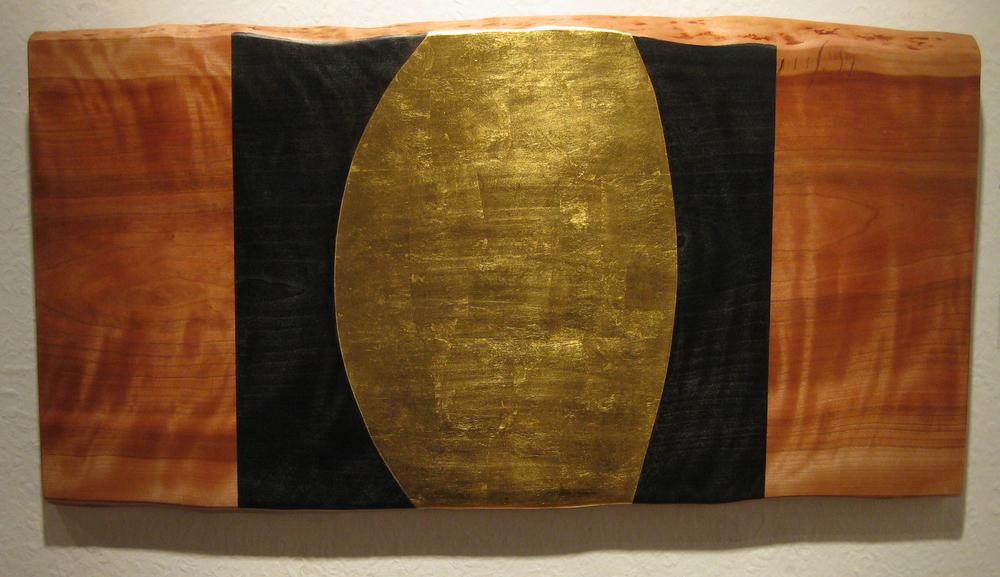 """February 28, 1877 #2  Jeffrey Brosk JB126 Cherry Wood, Black Stain, Gold Leaf 17"""" x 33"""" x 1.5"""""""