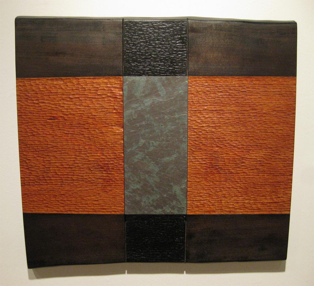 "River Cloud  Jeffrey Brosk JB131 Cherry Wood, Black Stain, Slate 24"" x 24"" x 1"""
